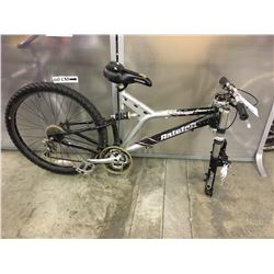 BLACK AND GREY RALEIGH FULL SUSPENSION MOUNTAIN BIKE, MISSING FRONT WHEEL