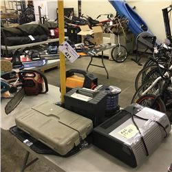LOT OF ASSORTED GARAGE ITEMS INC. HEATER, TOOLS, BATTERY BOOSTER AND MORE