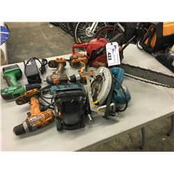 LOT OF ASSORTED POWER TOOLS INC. CHAINSAW, CIRCULAR SAW, DRILLS AND MORE