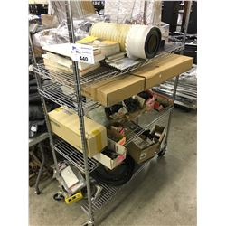 LARGE ASSORTMENT OF AUTOMOTIVE PARTS, INCLUDING RADIATOR, MANUALS AND MORE, ROLLING RACK NOT