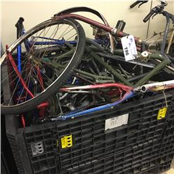 LOT OF ASSORTED BIKE FRAMES AND PARTS, BIN NOT INCLUDED