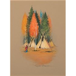 Wagoner, Robert - Indian Squaw In Front Of Teepees