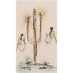 De Grazia, Ted - Sold as Set of 2 - Angels with Saguaro & Woman Gathering Wood