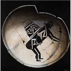 "Sabatino, Chuck - Mimbres Black on White Bowl ""Man with Staff & Backpack"""