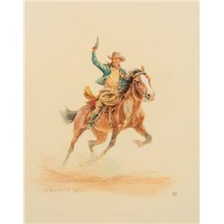Wieghorst, Olaf - Cowboy Galloping with Pistol