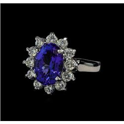 3.13 ctw Tanzanite and Diamond Ring - 14KT White Gold