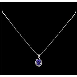3.15 ctw Tanzanite and Diamond Pendant With Chain - 14KT White Gold