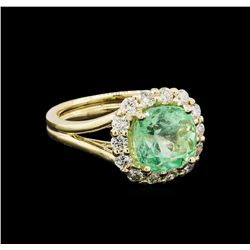 3.27 ctw Emerald and Diamond Ring - 14KT Yellow Gold