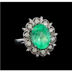GIA Cert 5.88 ctw Emerald and Diamond Ring - 14KT White Gold