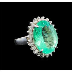 GIA Cert 8.68 ctw Emerald and Diamond Ring - 14KT White Gold