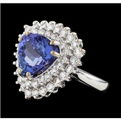 5.79 ctw Tanzanite and Diamond Ring - 14KT White Gold