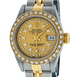 Rolex Ladies 2T Quickset Champagne String Diamond Datejust Wristwatch
