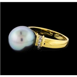 12.5mm Pearl and Diamond Ring - 18KT Yellow Gold