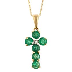 0.62 ctw Emerald and Diamond Pendant - 14KT Yellow Gold