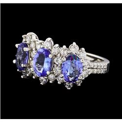 2.12 ctw Tanzanite and Diamond Ring - 14KT White Gold