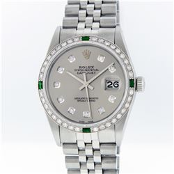Rolex Stainless Steel Slate Grey Diamond and Emerald DateJust Men's Watch
