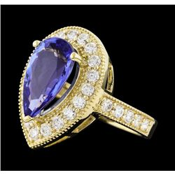 4.05 ctw Tanzanite and Diamond Ring - 14KT Yellow Gold