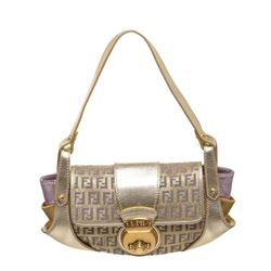 Fendi Metallic Gold Purple Fabric Leather Borsa Compilatior Shoulder Bag
