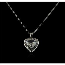 GIA Cert 2.24 ctw Diamond Pendant With Chain - 14KT White Gold