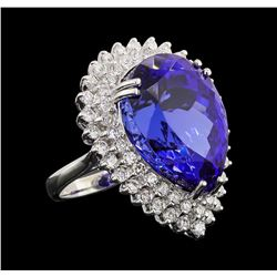 GIA Cert 27.51 ctw Tanzanite and Diamond Ring - 14KT White Gold