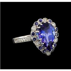 14KT White Gold 3.86 ctw Tanzanite, Sapphire and Diamond Ring