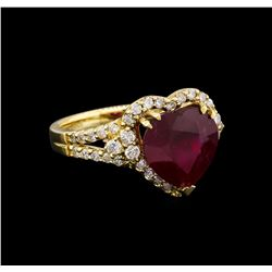 14KT Yellow Gold 5.41 ctw Ruby and Diamond Ring