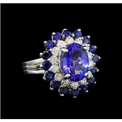 14KT White Gold 3.37 ctw Tanzanite, Sapphire and Diamond Ring