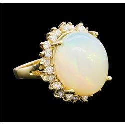 10.95 ctw Opal and Diamond Ring - 14KT Yellow Gold