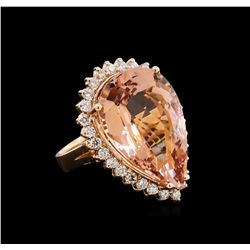 20.71 ctw Morganite and Diamond Ring - 14KT Rose Gold