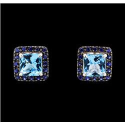 2.80 ctw Blue Topaz and Sapphire Earrings - 14KT White Gold