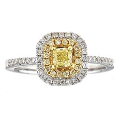 0.68 ctw Yellow and White Diamond Ring - 18KT White and Yellow Ring