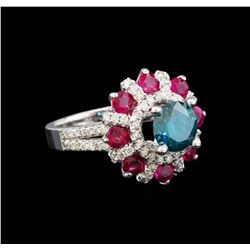 14KT White Gold 1.89 ctw Fancy Blue Diamond and Ruby Ring