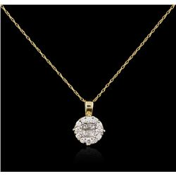 14KT Two-Tone Gold 0.40 ctw Diamond Pendant With Chain