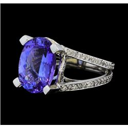 7.37 ctw Tanzanite and Diamond Ring - 14KT White Gold