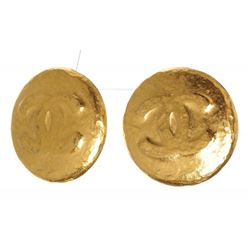 Chanel Gold Hammered CC Logo Clip On Earrings