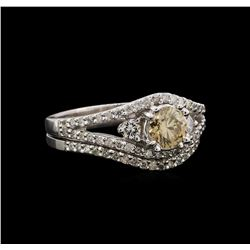 14KT White Gold 1.32 ctw Diamond Ring and Guard