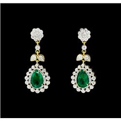 4.66 ctw Emerald And Diamond Earrings - 18KT Yellow Gold with Rhodium Plating