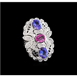 3.20 ctw Tanzanite, Pink Sapphire and Diamond Ring - 14KT White Gold
