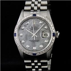 Rolex Mens Stainless Steel Meteorite Diamond Sapphire Quickset Datejust Wristwat