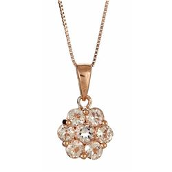 0.16 ctw Morganite and Diamond Pendant - 10KT Rose Gold