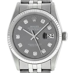 Rolex Mens 36mm Stainless Steel Dark Rhodium Diamond Datejust Wristwatch