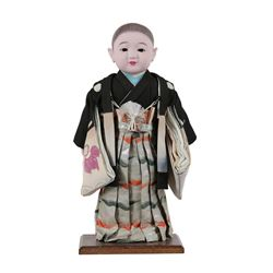 Vintage Japanese Hand-Painted Hair, Porcelain Glass Eye Doll with Silk Kimono
