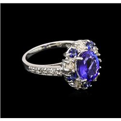2.43 ctw Tanzanite, Blue Sapphire and Diamond Ring - 14KT White Gold