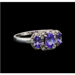 14KT White Gold 0.99 ctw Tanzanite and Tanzanite Ring