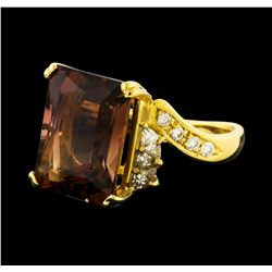 8.78 ctw Tourmaline and Diamond Ring - 18KT Yellow Gold