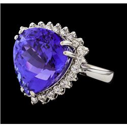 18.40 ctw Tanzanite and Diamond Ring - 14KT White Gold