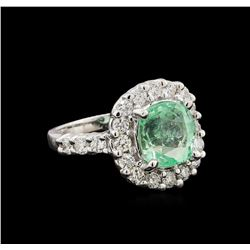 3.45 ctw Emerald and Diamond Ring - 14KT White Gold