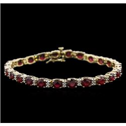 14.70 ctw Ruby and Diamond Bracelet - 14KT Yellow Gold