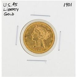 1901 $5 Liberty Head Half Eagle Gold Coin