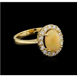 1.70 ctw Opal and Diamond Ring - 14KT Yellow Gold
